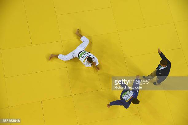 Dirk van Tichelt of Belgium celebrates after defeating Miklos Ungvari of Hungary in the Men's 73 kg Contest for Bronze Medal B on Day 3 of the Rio...
