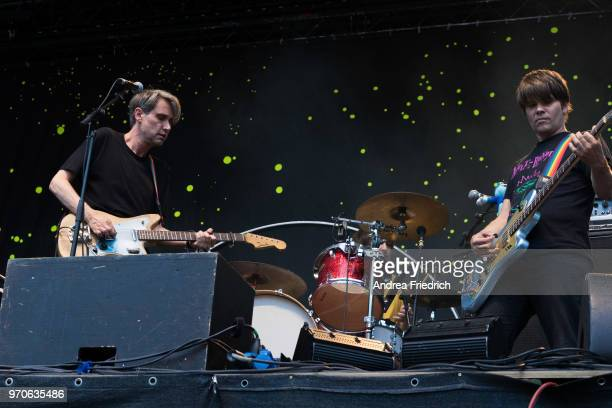 Dirk von Lowtzow and Jan Muller of German band Tocotronic perform live on stage in support of Beatsteaks during a concert at Waldbuehne Berlin on...