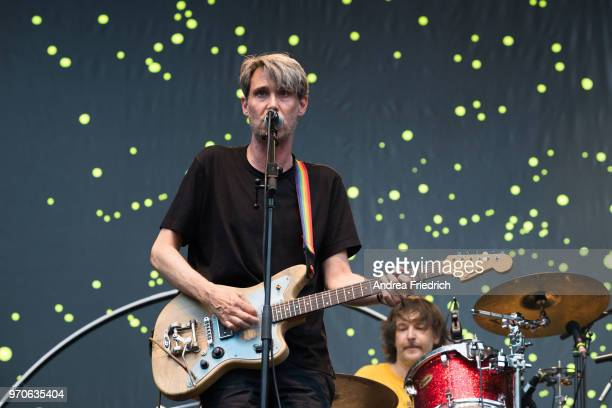 Dirk von Lowtzow of German band Tocotronic performs live on stage in support of Beatsteaks during a concert at Waldbuehne Berlin on June 9 2018 in...