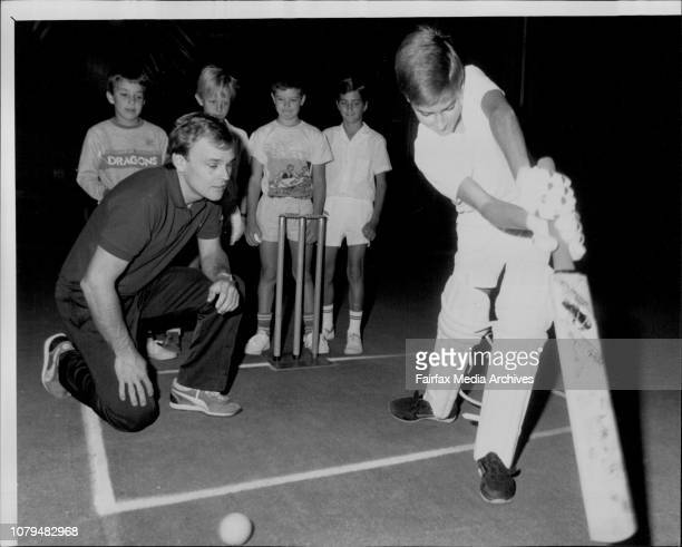 Dirk Wellham NSW Sheffield Shield captain Dirk Wellham instructing 12yearold David Gillard of St Ives in the finer points of batting surrounded by...