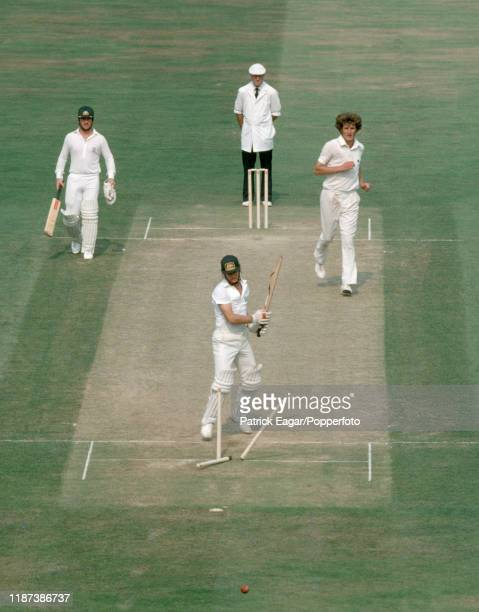 Dirk Wellham of Australia is bowled for 24 runs by Bob Willis of England during the 6th Test match between England and Australia at The Oval London...
