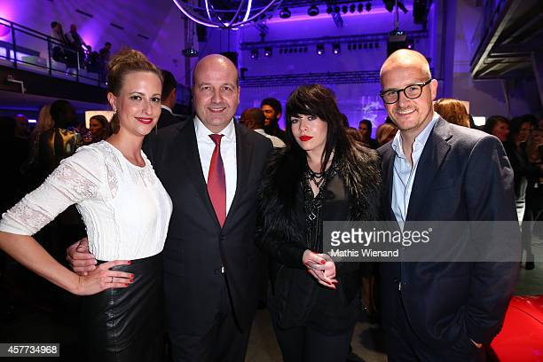 Dirk Wiedenmann Alex Hepburn and Tim Affeld attend the InTouch Awards 2014 at Port Seven on October 23 2014 in Duesseldorf Germany