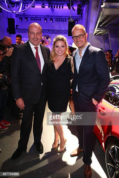 Dirk Wiedenmann Caroline Frier and Tim Affeld attend the InTouch Awards 2014 at Port Seven on October 23 2014 in Duesseldorf Germany