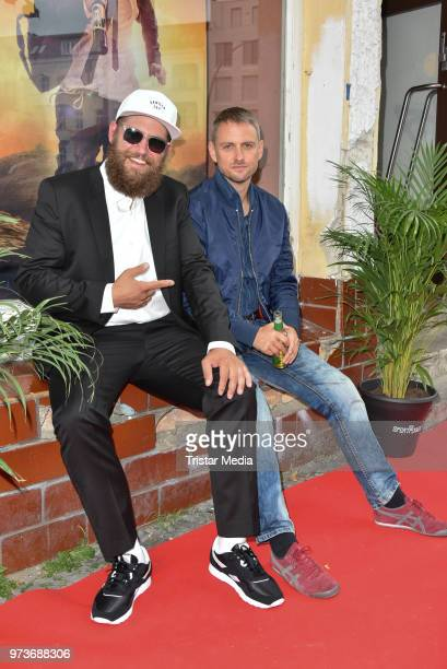 Dirk Witek alias MC Fitti and Axel Schreiber attend the film preview of 'Der Sportpenner' on June 13 2018 in Berlin Germany