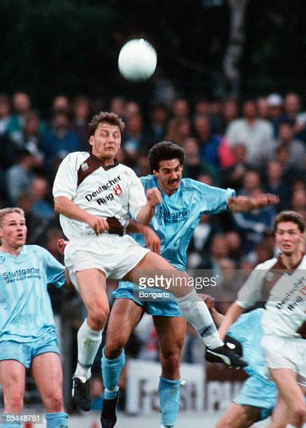 Dirk Zander of Pauli decapitates the ball during the Religations match between FC St Pauli and Stuttgarter Kickers on June 19 1991 in Hamburg Germany