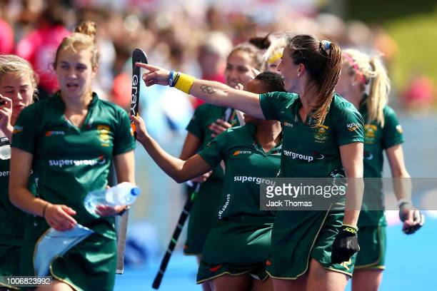 Dirkie Chamberlain of South Africa applauds fans following the FIH Womens Hockey World Cup Pool C game between Argentina and South Africa at Lee...