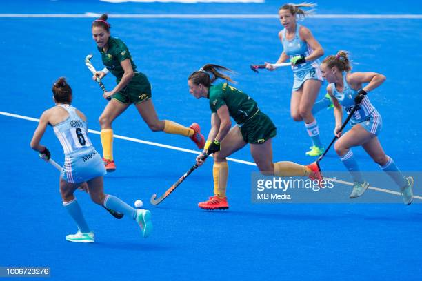 Dirkie Chamberlain of South Africa in action during the Pool C game between Argentina and South Africa of the FIH Womens Hockey World Cup at Lee...