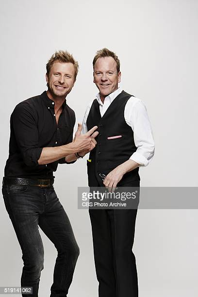 Dirks Bentley Kiefer Sutherland stops by the CBS Photo Booth during the 51st ACADEMY OF COUNTRY MUSIC AWARDS cohosted by Luke Bryan and Dierks...