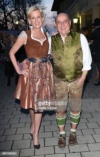 Dirndl Designer Astrid Soell Axel Munz CEO Angermeier Trachten during the SIXT fashion dinner at Nockherberg on March 24 2015 in Munich Germany