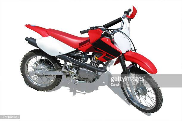 A dirt bike with shadow on a white background