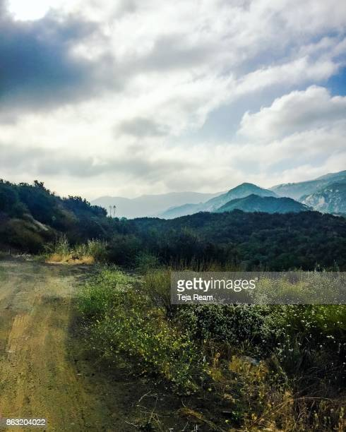 a dirt path in the santa monica mountains - wildnis stock-fotos und bilder