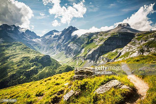 dirt path on grassy rural hillside - berg stock-fotos und bilder