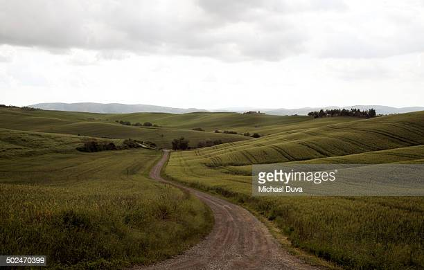 dirt path outside of Siena with rolling hills