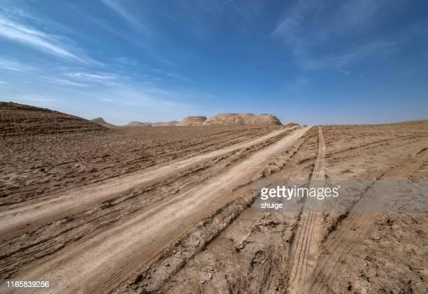 dirt road along yadan devil city - 荒野 ストックフォトと画像