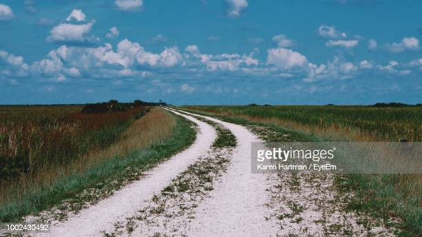 dirt road amidst field against sky - coral springs stock pictures, royalty-free photos & images