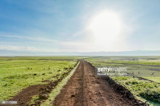 dirt road amidst field against sky - volcanic crater stock pictures, royalty-free photos & images