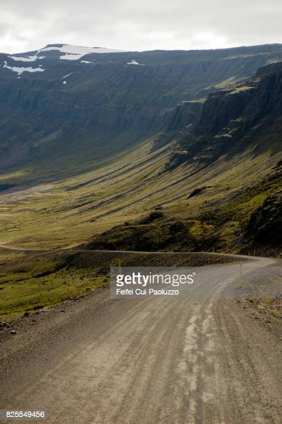 dirt road at breiddalsheidi near breiðdalsvík, in eastern iceland - austurland stock pictures, royalty-free photos & images