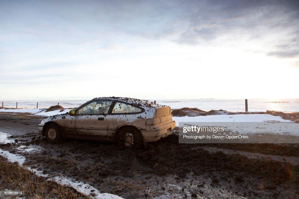 Dirt Road Car Problems Horizontal : Stock Photo