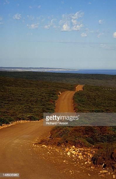 A dirt road cuts a swathe through low lying scrub on a perfect Kangaroo Island day.