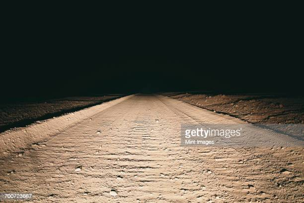 Dirt road in desert illuminated by car headlights, Death Valley National Park, USA