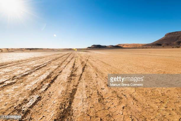 dirt road in ouzina desert - rough stock pictures, royalty-free photos & images