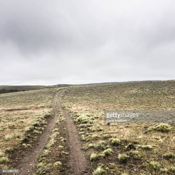 dirt road in patagonia - pampa stock-fotos und bilder