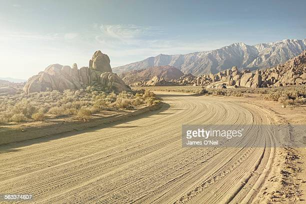 dirt road in rocky landscape