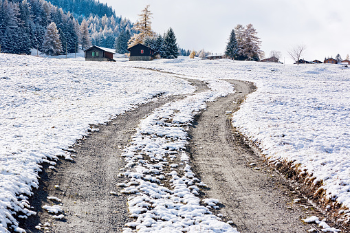 Dirt Road in the Snow Ground, European Alps - gettyimageskorea