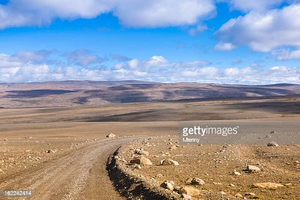 未舗装道路 Sprengisandur セントラルアイスランドの火山泥の砂漠の景観