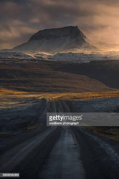 Dirt road through iceland landscape