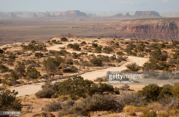 dirt road winding toward muley point on cedar mesa; monument valley on the horizon - timothy hearsum stock pictures, royalty-free photos & images