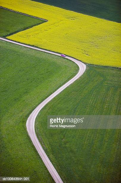 Dirt track across farmland, aerial view