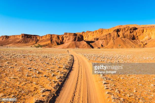 dirt track, namub-naukluft national park, namibia - namib naukluft national park stock pictures, royalty-free photos & images