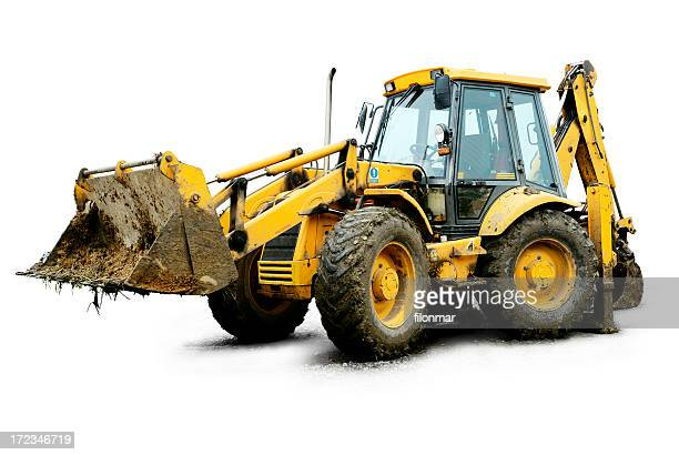 Dirt-filled, yellow excavator on white background