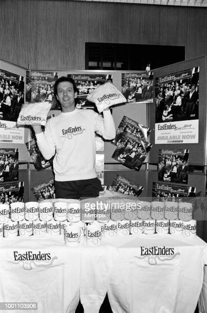 Dirty Den' aka Leslie Grantham landlord of the Queen Victoria had a part time job selling EastEnders tshirts and coffee mugs 29th November 1985