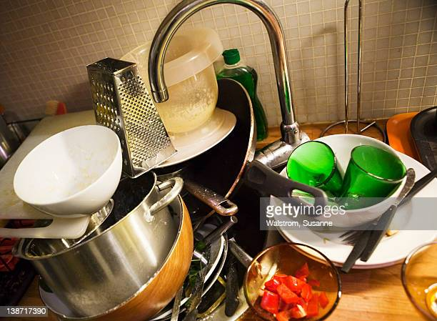 Dirty dishes on sink