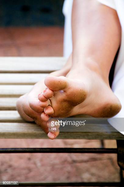 dirty feet - female feet soles stock photos and pictures