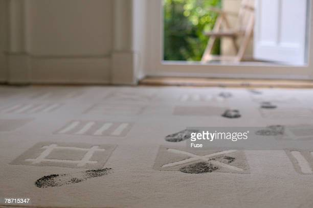 Dirty footprints on carpeting