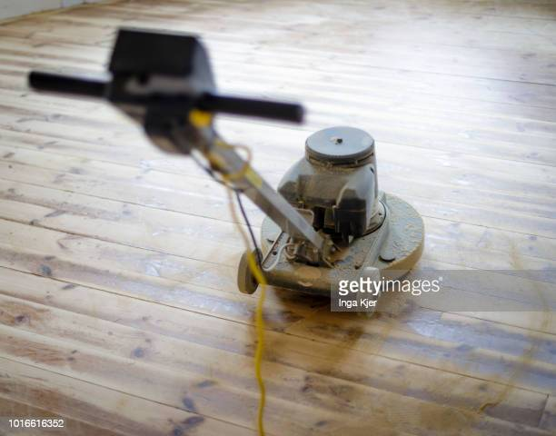A dirty grinder stands on a wooden floor on July 24 2018 in BERLIN GERMANY
