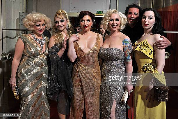 Dirty Martini Julie Atlas Muz Kitten on the Keys Mimi Le Meaux guest and Evie Lovell attend the 36th Cesar Film Awards at Theatre du Chatelet on...