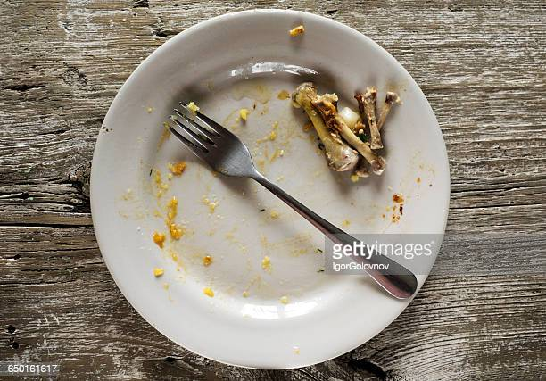 Dirty plate with leftover chicken bones