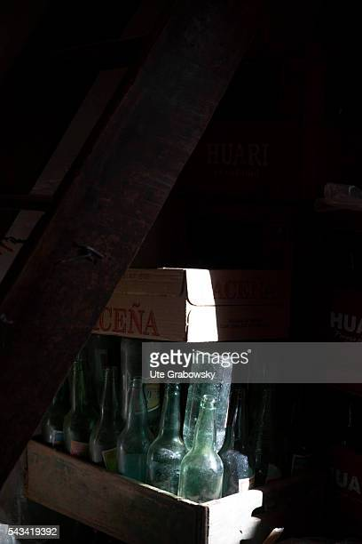 Dirty returnable bottles in a wooden box on April 14 2016 in Sacaca Bolivia