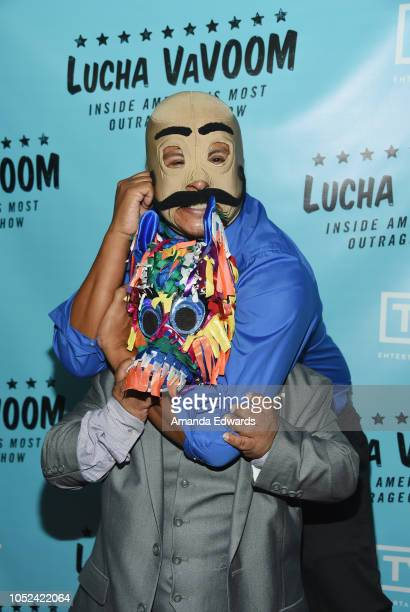 Dirty Sanchez and Pinatita arrive at the Lucha Vavoom Inside America's Most Outrageous Show premiere at the Harmony Gold Theatre on October 17 2018...