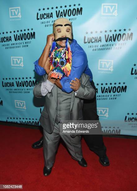Dirty Sanchez and Pinatita arrive at the 'Lucha Vavoom Inside America's Most Outrageous Show' premiere at the Harmony Gold Theatre on October 17 2018...