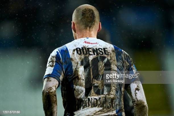 Dirty shirt of Aron Elis Thrandarson of OB Odense during the Danish 3F Superliga match between OB Odense and Brondby IF at Nature Energy Park on...
