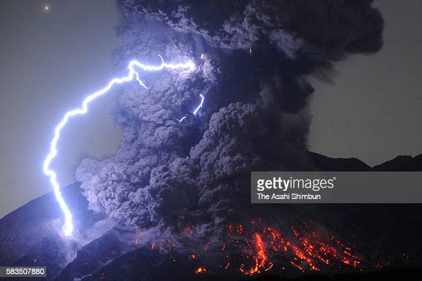 A dirty thunderstorm occurs over Mount Sakurajima as the volcano erupts violently at 1203 am on July 26 2016 in Tarumizu Kagoshima Japan The eruption...