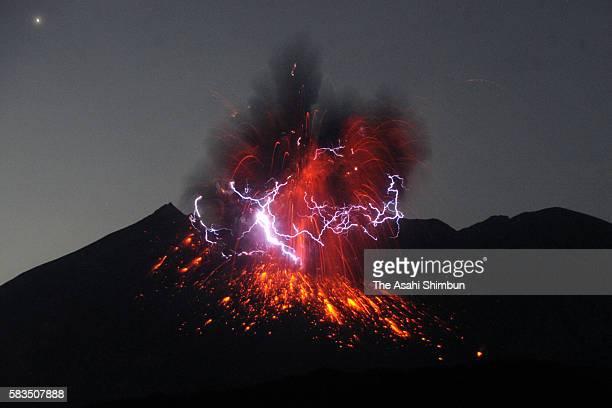A dirty thunderstorm occurs over Mount Sakurajima as the volcano erupts violently at 1202 am on July 26 2016 in Tarumizu Kagoshima Japan The eruption...