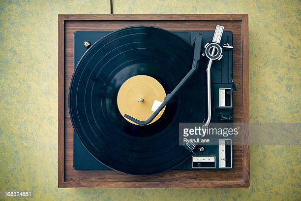 dirty turntable and record on formica background - deck stock pictures, royalty-free photos & images