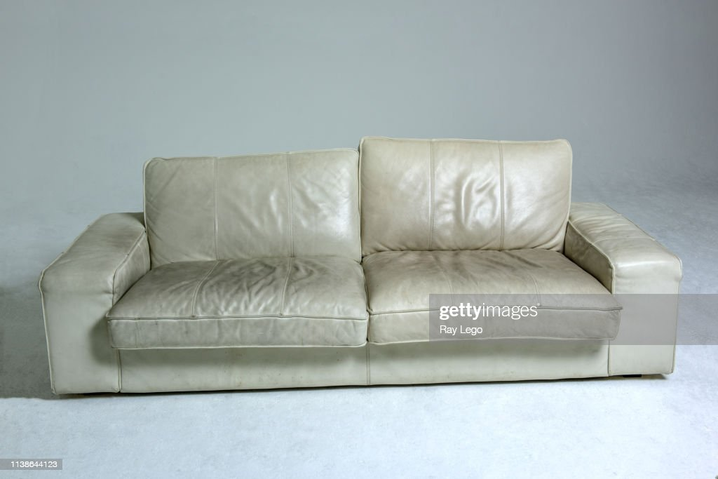 Strange Dirty White Leather Couch On White Background High Res Stock Gamerscity Chair Design For Home Gamerscityorg