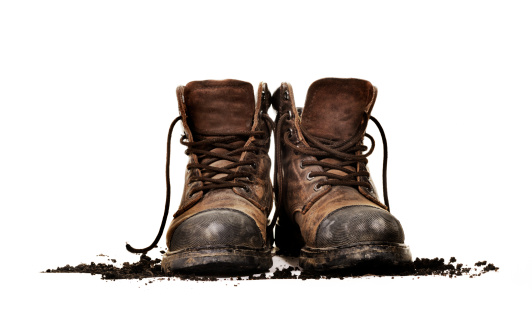 Dirty work boots isolated 172373112